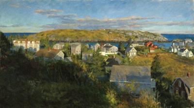 Morning Sun Over Monhegan Village (oil, 26x46) by Alexandra Tyng
