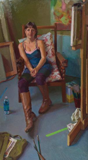 Jenn, Portrait of an Artist (oil, 46x26) by Lea Colie Wight