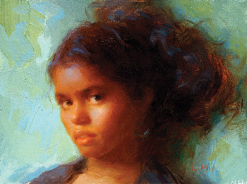 Yanca's Ponytail (oil, 6x8) by Susan Lyon
