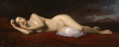Dormir (oil, 16x40) by Adrian Gottlieb