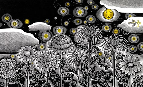 Through the dark glows the moon (from The House in the Night by Susan Marie Swanson; Houghton Mifflin, 2008) (scratchboard and watercolor, 8½x14) by Beth Krommes