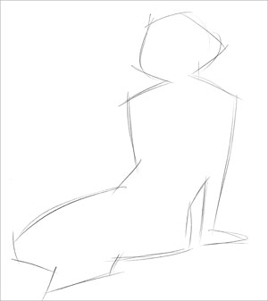 Figure sketching: draw the silhoutte