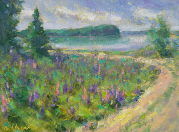 Sunny Day Lupines, alkyd oil painting by Michael Chesley Johnson
