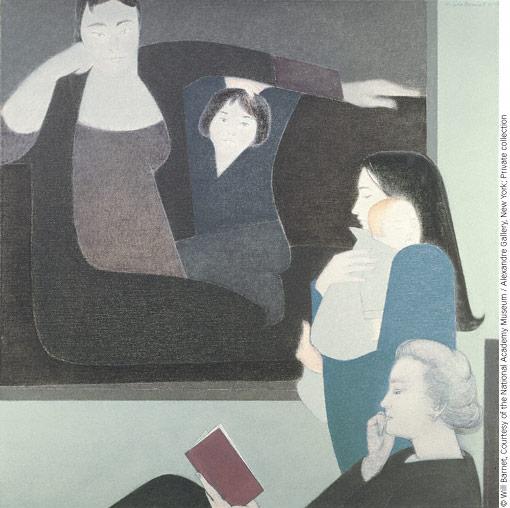 Three Generations (1990; oil, 54x54) by Will Barnet