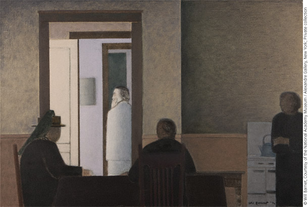 The Family (The Kitchen) (1992; oil, 29x42 1/2) by Will Barnet