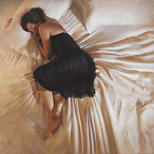 The Black Dress, oil figure painting by Tina Spratt artist, art competition