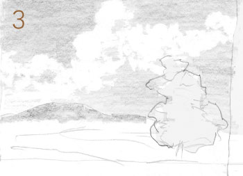 How to draw a landscape with painterly style, step 3