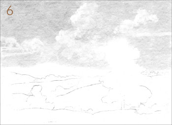 How to draw a landscape with painterly style, step 6