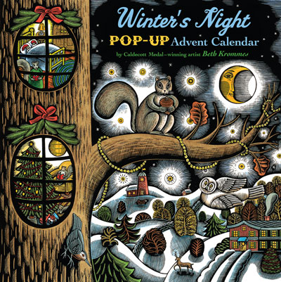 Winter's Night Pop-Up Advent Calendar by Beth Krommes | scratchboard watercolor demonstration wildlife illustrations