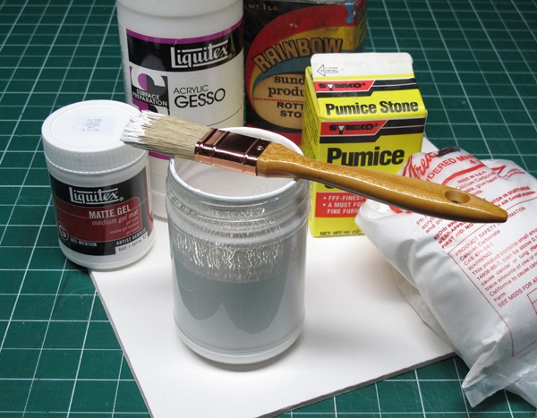 Various components of a homemade pastel grit-ground.