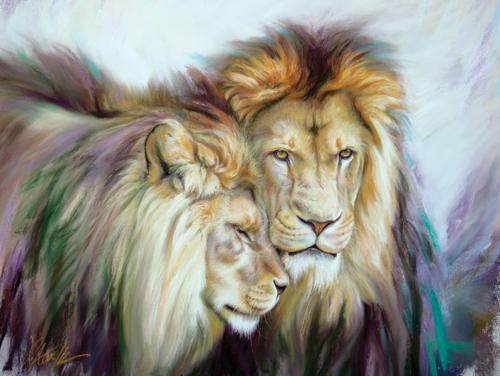 pastel of lions by Steve Morvell