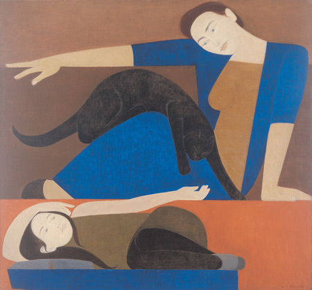 The Blue Robe by Will Barnet, symmetrical composition oil painting