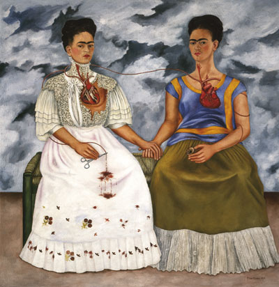 The Two Fridas (Las dos Fridas) by Frida Kahlo Face to Face self portrait