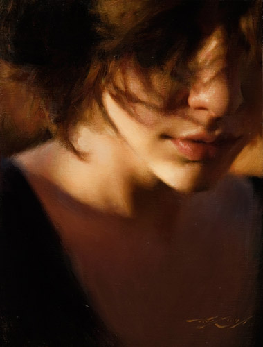 Evening painting by Casey Baugh artist, female portrait painting, oil painting
