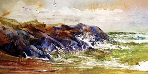 Benton Harbor Breakwater | watercolor