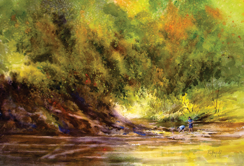 Fishing On the Vermillion River | watercolor