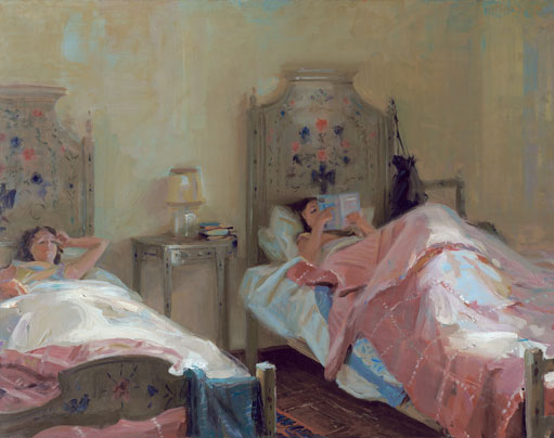 Sunday Morning, Portugal oil painting by Everett Raymond Kinstler, portrait artist, art exhibition