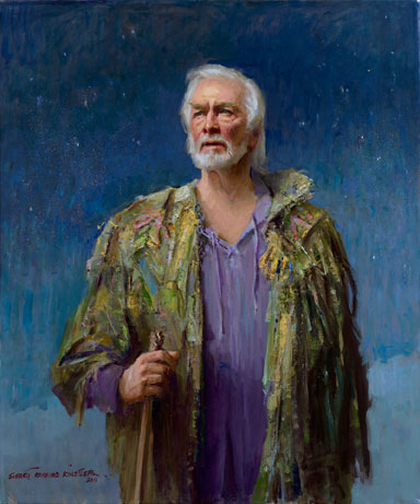 Christopher Plummer as Prospero oil painting by Everett Raymond Kinstler, portrait artist, art exhibition