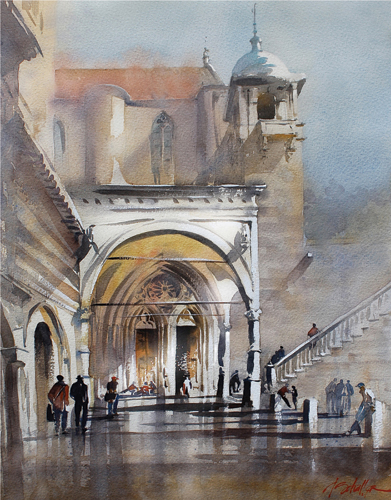 Portico Assisi | watercolor