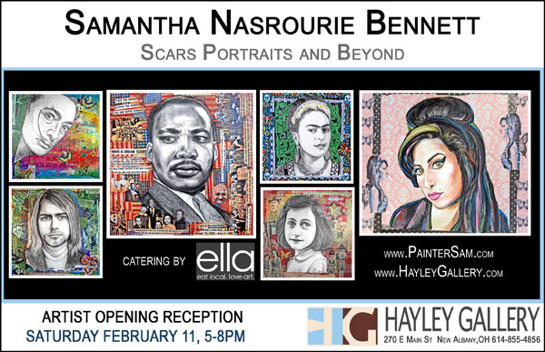 Samantha Bennett artist, Scars Portraits and Beyond exhibition, portrait paintings