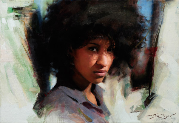 Ana painting by Casey Baugh, female portrait painting, oil painting