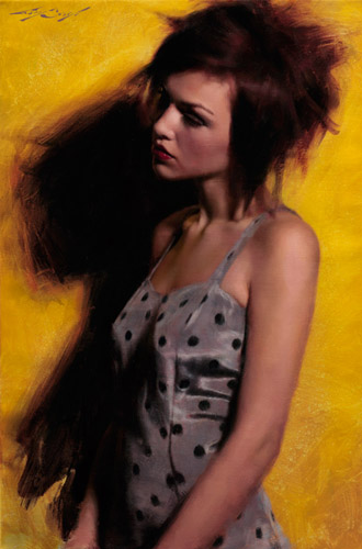 No More CommonDress painting by Casey Baugh, female portrait figure painting, oil painting
