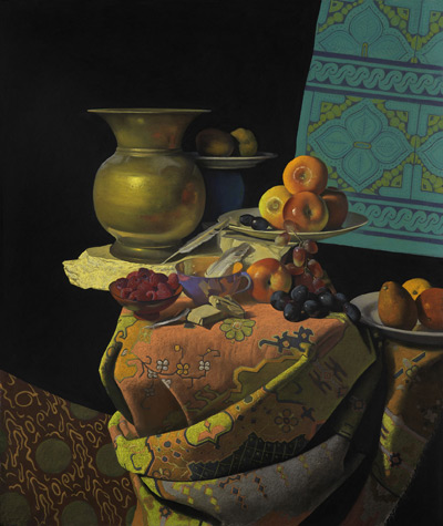 Still Life With a Brass Urn (pastel, 30x23) by Ron Monsma