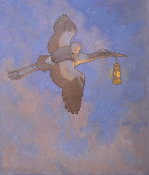 Flight (oil on board, 20x18) by Tom Root