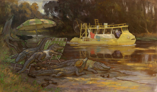 Alligators! (oil on board, 17x30) by Tom Root