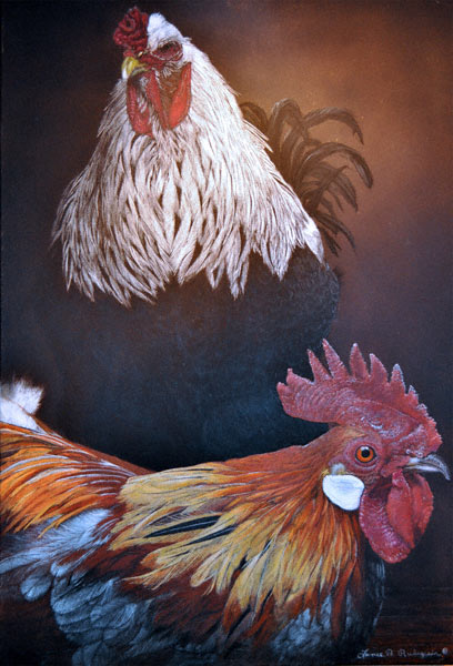 Don't Be a Chicken, painting by Lance Rudegeair, animal/wildlife painting, gouache, colored pencil, mixed media