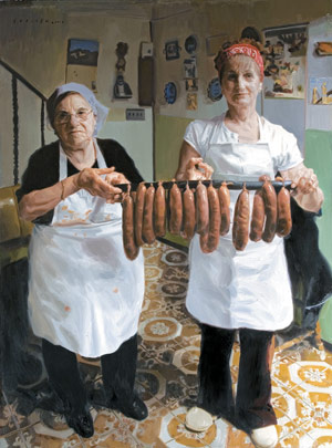 The Sausage Makers, painting by Michael De Brito, portrait painting, how to paint a portrait