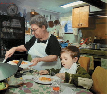 Serving Supper by Michael De Brito, how to paint a portrait, oil painting