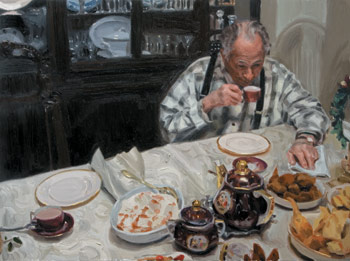Late Night Coffee, painting by Michael De Brito, portrait painting, how to paint a portrait