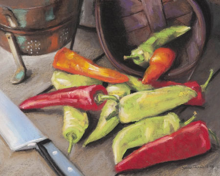 Pick a Pepper by Joan Carroll artist, pastel still life painting, art competition