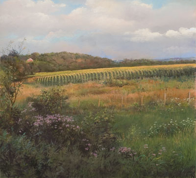 Summer Wildflowers and Corn by Marcia Wegman, pastel landscape painting, art competition