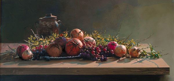 Pomegranates with a Red Vase by Demetrios Vlachos, oil still life painting, art competition