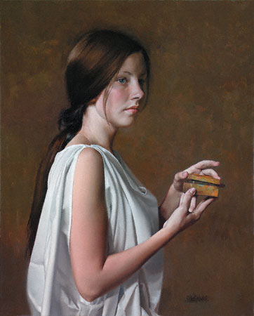 The Secret by William Whitaker artist, oil figure painting, art competition