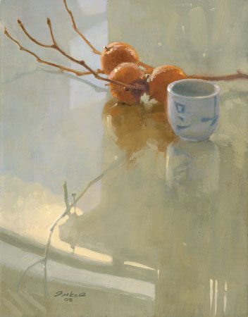 Persimmons by Ron Ferkol artist, oil still life painting, art competition