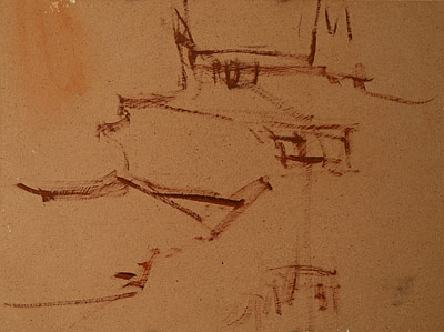 Painting demo step 1: Sketch scene with burnt sienna.