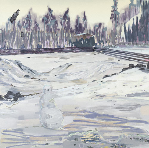 Snowmen (oil, 47x47) by Melanie Daniel