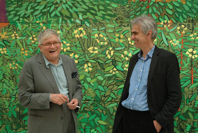 David Hockney and Martin Gayford at Bridlington Studio