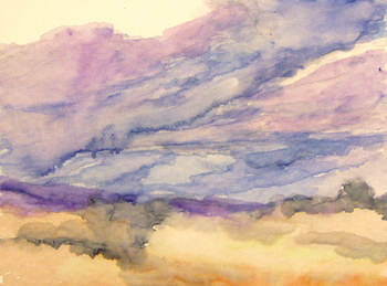 Pastels: Making Clouds Move in a Painting, watercolor underpainting