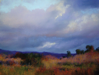 Pastels: Making Clouds Move in a Painting, warm colors