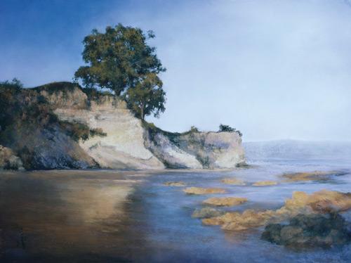 Leadbetter Beach pastel landscape painting by Jannene Behl artist