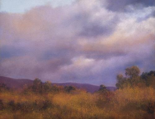 Clouds Over Carpinteria pastel landscape painting by Jannene Behl artist