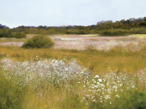 Carmel Wildflowers pastel landscape painting by Jannene Behl artist