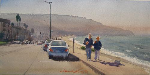 Couple On Esplanade | watercolor