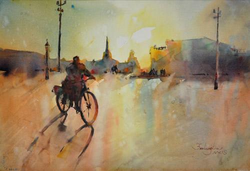 Dawn in Dresden | watercolor