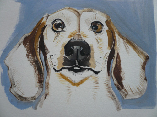 dog art, pictures of dogs, Sally Muir art, acrylic painting