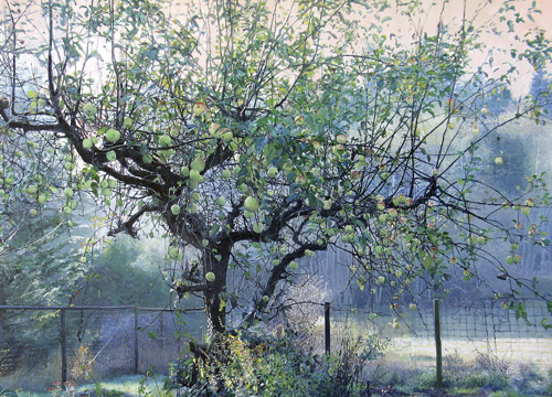 Apple Tree is an acrylic painting by artist Garry Kaye, who uses Photoshop to manipulate his photo references.